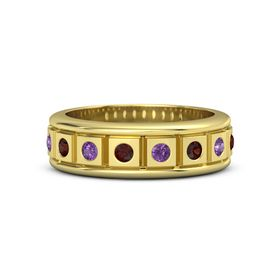 Men's 18K Yellow Gold Ring with Red Garnet & Amethyst