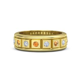 Men's 18K Yellow Gold Ring with Citrine & Diamond