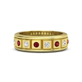 18K Yellow Gold Ring with Ruby and White Sapphire