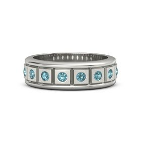 Men's Palladium Ring with London Blue Topaz