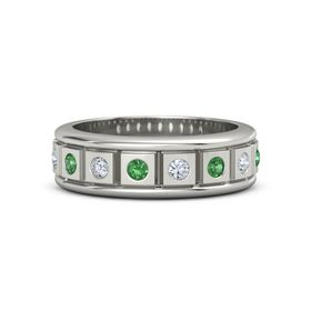 Men's Palladium Ring with Emerald & Diamond