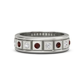 Palladium Ring with Red Garnet and White Sapphire