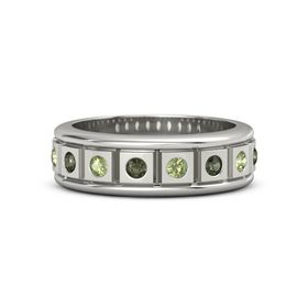 Palladium Ring with Green Tourmaline and Peridot