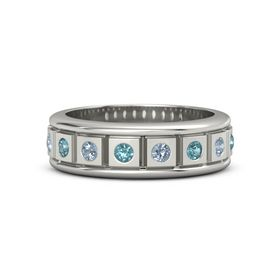 Platinum Ring with London Blue Topaz and Blue Topaz