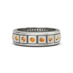 Men's Platinum Ring with Citrine