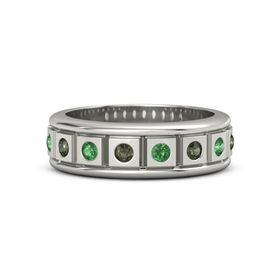 Platinum Ring with Green Tourmaline and Emerald