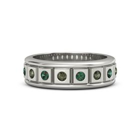 Men's Platinum Ring with Green Tourmaline & Alexandrite