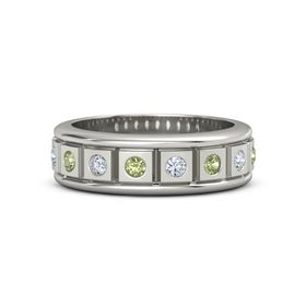 Men's Platinum Ring with Peridot & Diamond