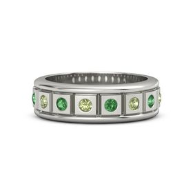 Platinum Ring with Peridot and Emerald