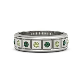 Platinum Ring with Peridot and Alexandrite