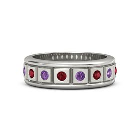 Men's Platinum Ring with Ruby & Amethyst