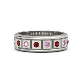 Men's Platinum Ring with Ruby & Pink Sapphire