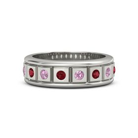 Platinum Ring with Ruby and Pink Tourmaline