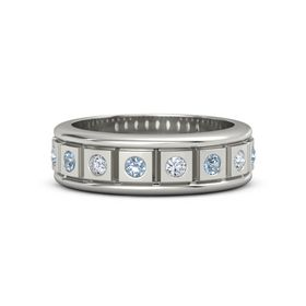 Men's Platinum Ring with Blue Topaz & Diamond