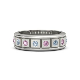 Platinum Ring with Blue Topaz and Pink Sapphire