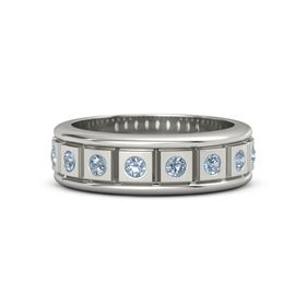 Men's Platinum Ring with Blue Topaz