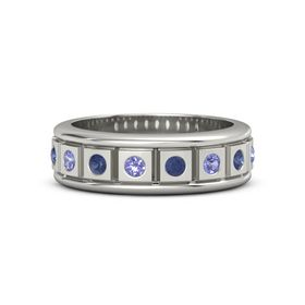 Platinum Ring with Iolite and Blue Sapphire