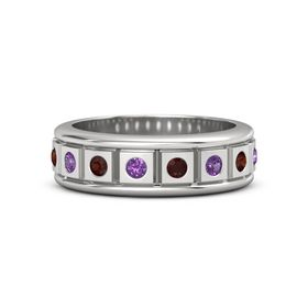 Men's Sterling Silver Ring with Amethyst & Red Garnet