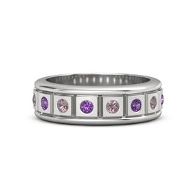 Sterling Silver Ring with Amethyst and Rhodolite Garnet