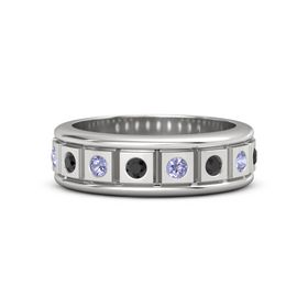 Sterling Silver Ring with Black Diamond and Tanzanite