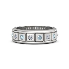 Men's Sterling Silver Ring with Diamond & Aquamarine