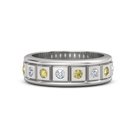 Sterling Silver Ring with Diamond and Yellow Sapphire