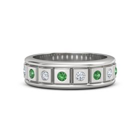 Men's Sterling Silver Ring with Emerald & Diamond