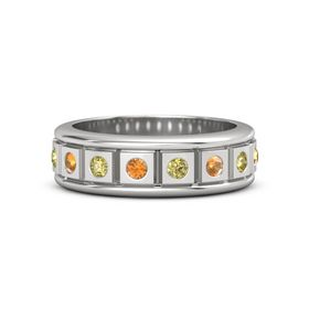 Sterling Silver Ring with Citrine and Yellow Sapphire