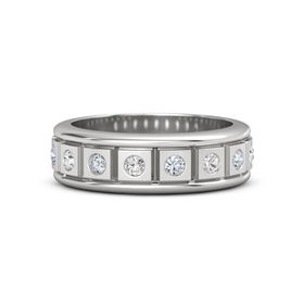 Men's Sterling Silver Ring with White Sapphire & Diamond
