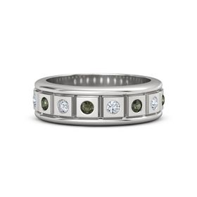 Men's Sterling Silver Ring with Green Tourmaline & Diamond