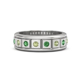 Sterling Silver Ring with Peridot and Emerald