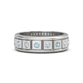 Sterling Silver Ring with Aquamarine and Diamond