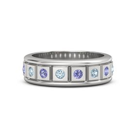 Men's Sterling Silver Ring with Aquamarine & Iolite
