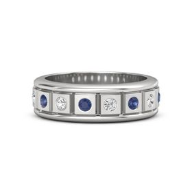 Sterling Silver Ring with Blue Sapphire and White Sapphire