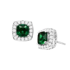 2 1/4 ct Emerald & White Sapphire Stud Earrings