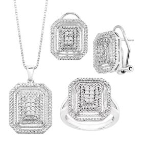 1/4 ct Diamond Necklace, Earrings & Ring Set