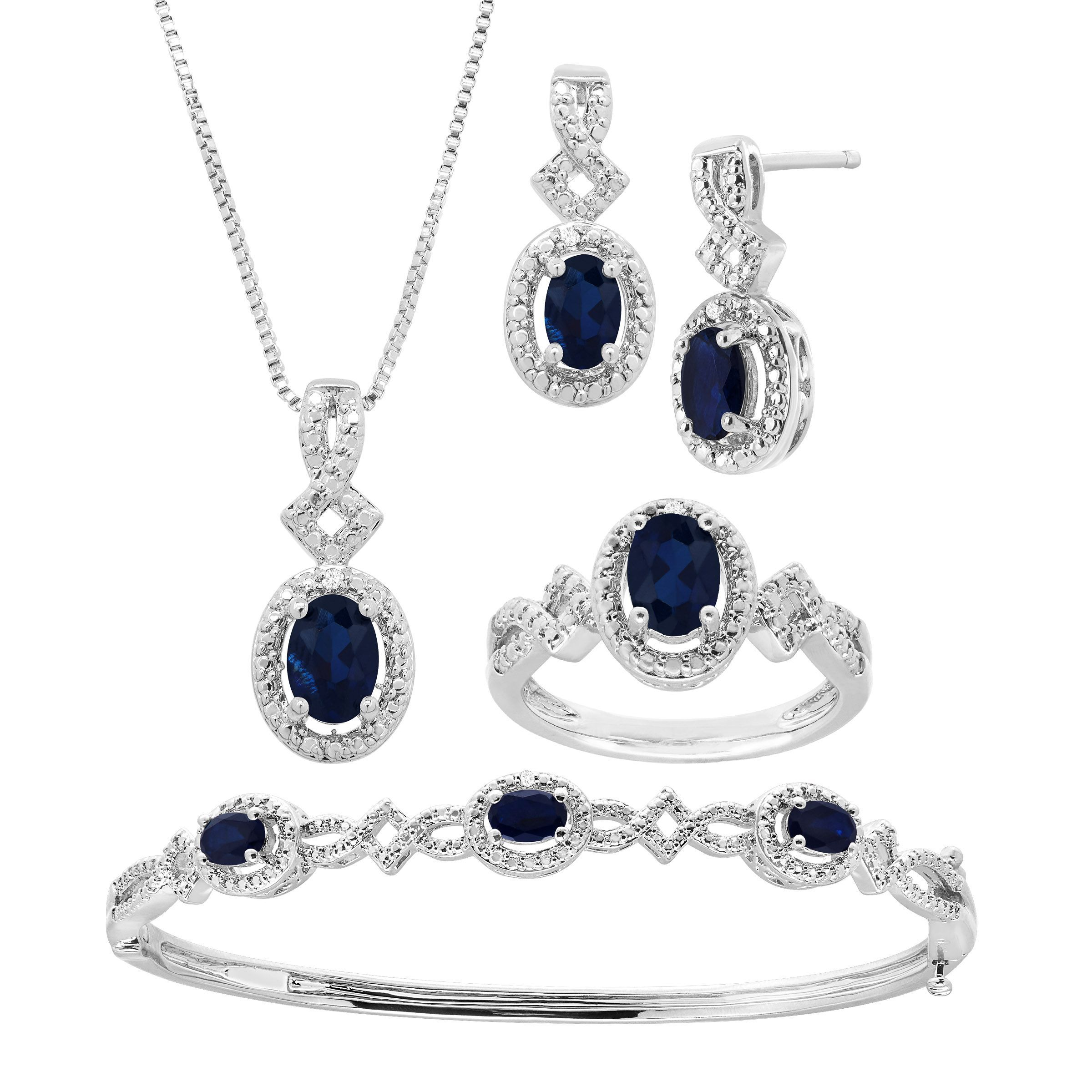 5 Ct Created Sapphire 4 Piece Jewelry Set With Diamonds In