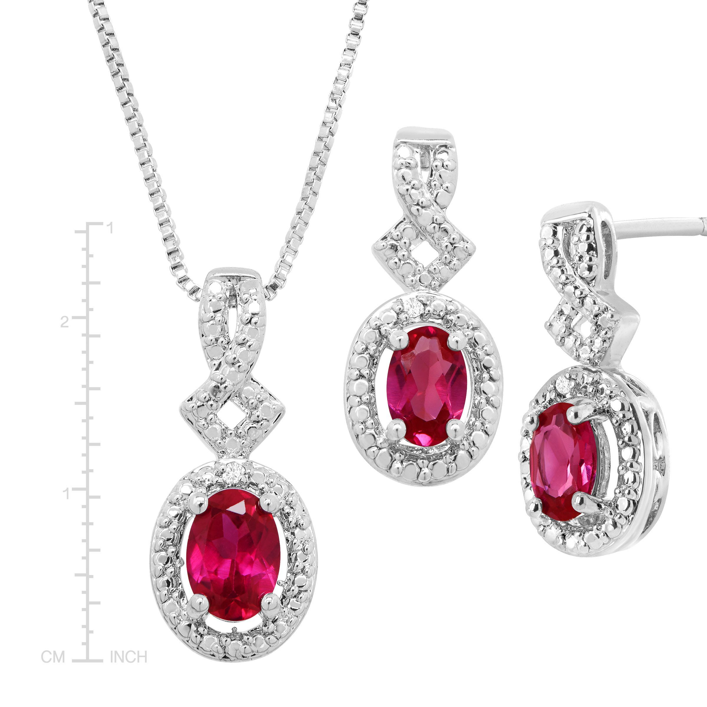 5 Ct Created Ruby 4 Piece Jewelry Set With Diamonds In