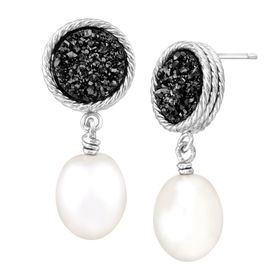 Oval Pearl & Black Druzy Drop Earrings