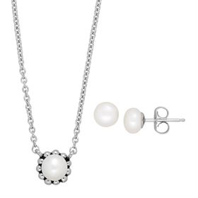 Girl's Pearl Stud Earring and Necklace Set