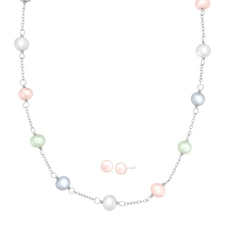 Girl's 6 mm Pastel Pearl Necklace & Earring Set