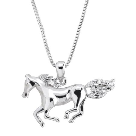Horse pendant with diamond in 14k white gold plated brass horse horse pendant with diamond aloadofball Image collections