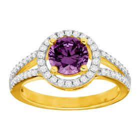 Amethyst & White Sapphire Halo Ring