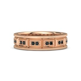 14K Rose Gold Ring with Black Diamond