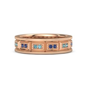 14K Rose Gold Ring with Sapphire & London Blue Topaz