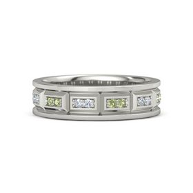 Platinum Ring with Peridot and Diamond