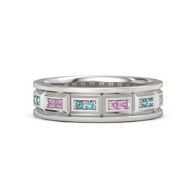 Sterling Silver Ring with Pink Tourmaline and London Blue Topaz
