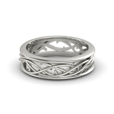 Mens 14K White Gold Ring