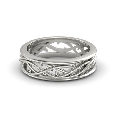 14wg p - Mens White Gold Wedding Ring
