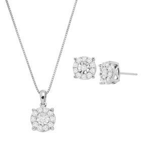 1 ct Diamond Halo Wheel Pendant & Earring Set
